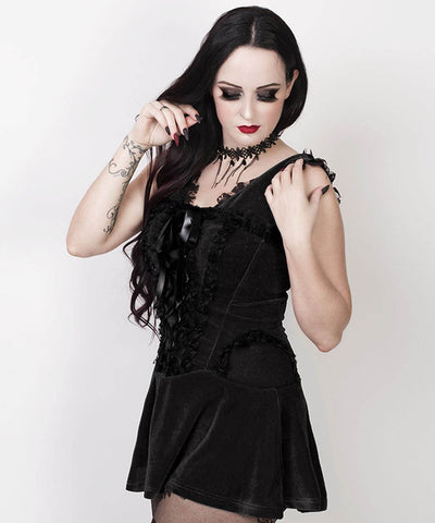 Finka Halter Burlesque Custom Made Dress in Black Velvet