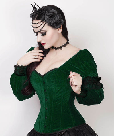 Fima Gothic Overbust Custom Made Green Corset with Attached Sleeve
