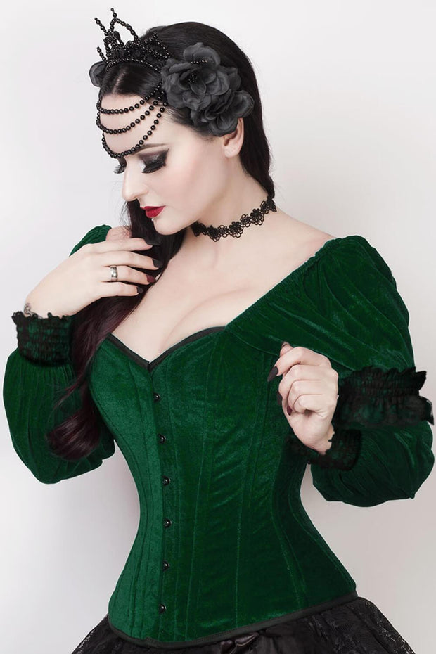 Fima Custom Made Gothic Overbust Green Corset with Attached Sleeve