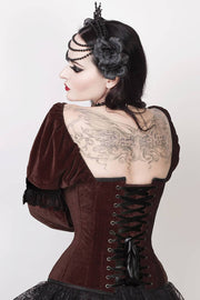 Laryn Custom Made Overbust Brown Corset with Attached Sleeve