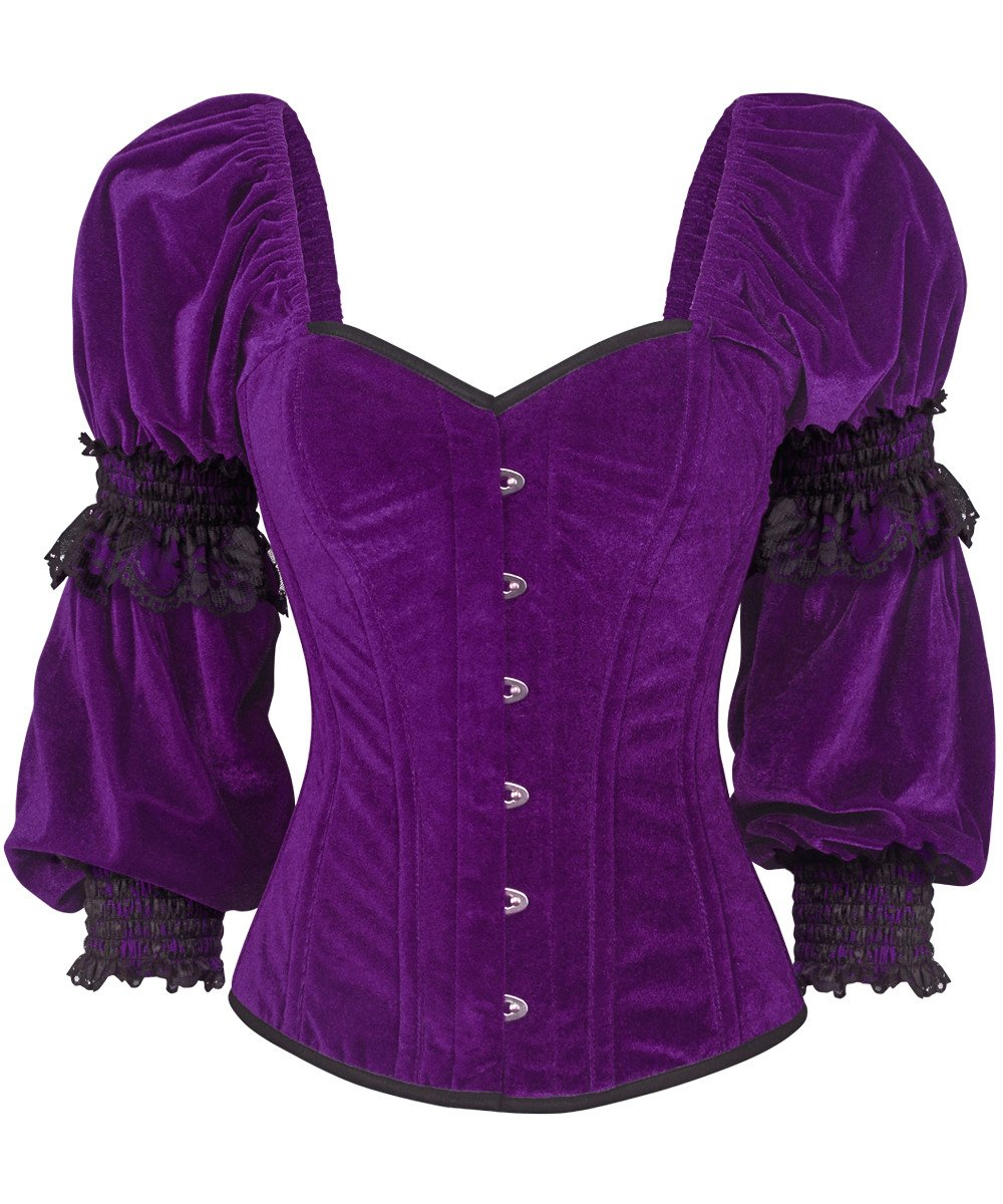 65b441a27dc Robbie Gothic Overbust Purple Corset with Attached Sleeve
