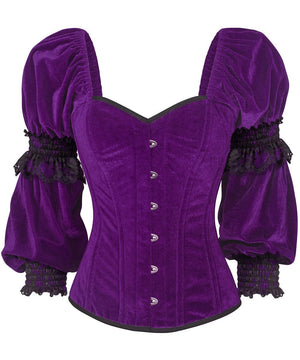 Robbie Gothic Overbust Purple Corset with Attached Sleeve