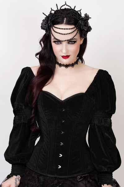 Agostina Custom Made Gothic Overbust Black Corset with Attached Sleeve