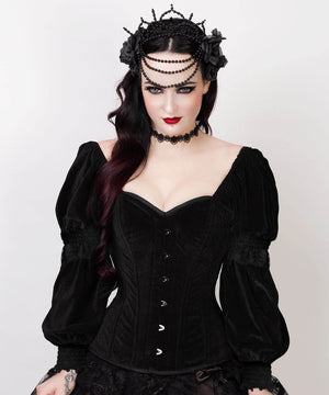 Agostina Gothic Overbust Custom Made Black Corset with Attached Sleeve