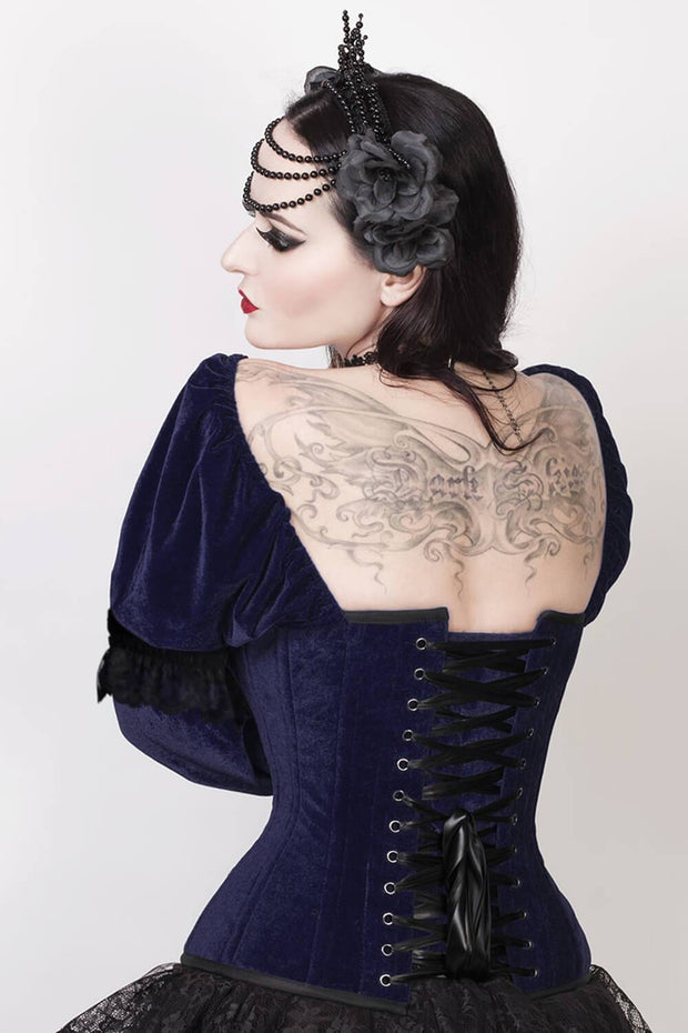 Aglaia Custom Made Gothic Overbust Blue Corset with Attached Sleeve