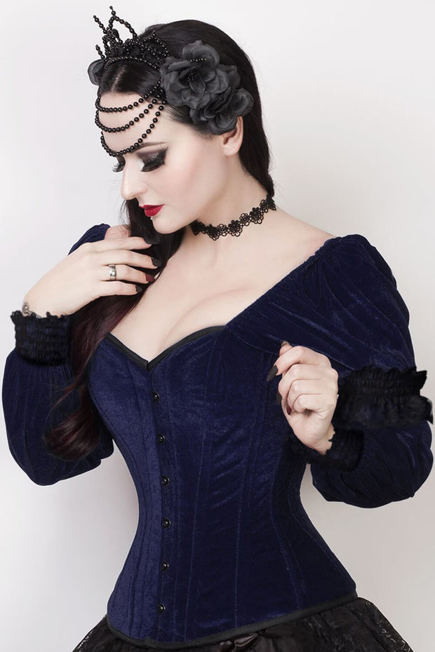Agostina Gothic Overbust Black Corset with Attached Sleeve