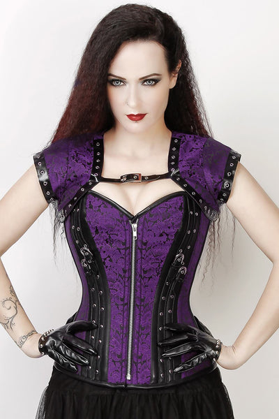 Overbust Custom Made Purple Brocade Corset with Bolero