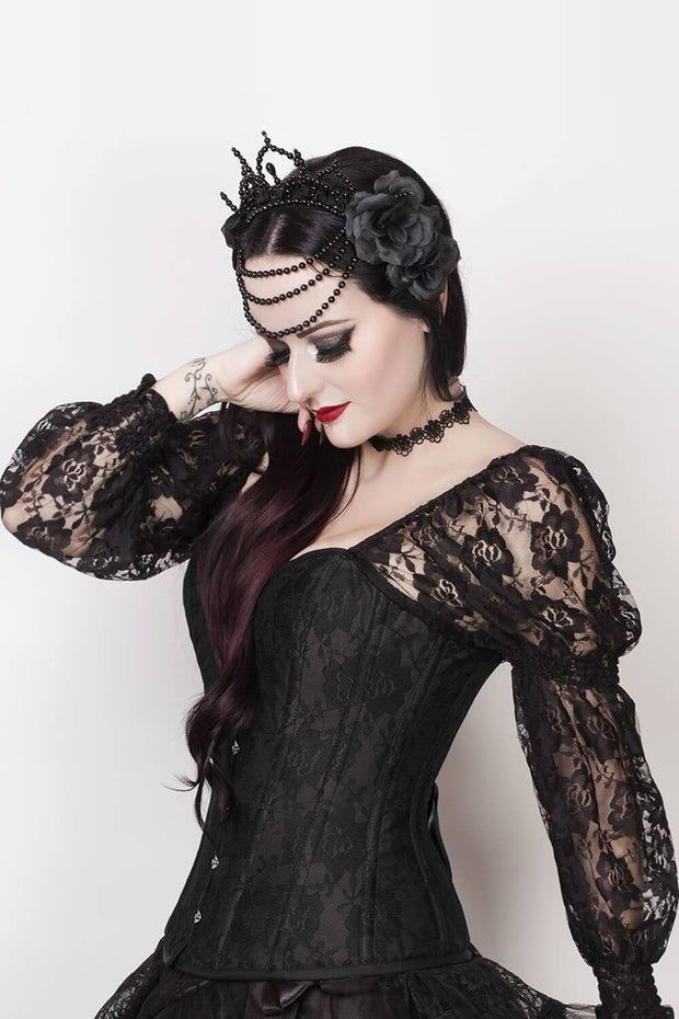 Faddei Custom Made Black Lace Overlay Corset with Sleeves