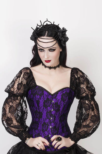Rolph Custom Made Lace Overlay Corset with Attached Sleeve