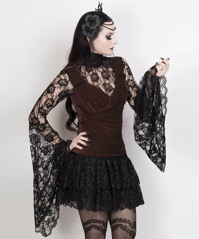 Rexana Long Flared Sleeve Brown Top