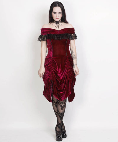 Agmundr Burlesque Maroon Velvet Off Shoulder Custom Made Dress