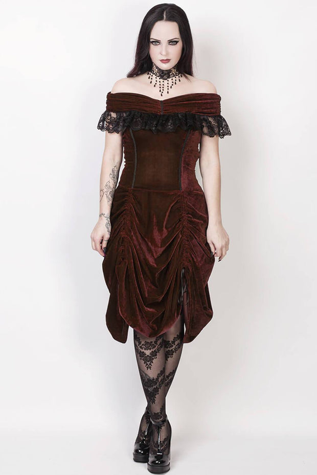 Filat Burlesque Brown Off Shoulder Dress