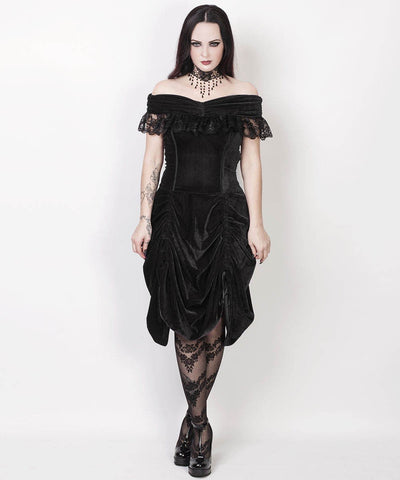 Lanre Burlesque Black Velvet Off Shoulder Custom Made Dress
