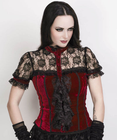 Fane Gothic Top in Maroon Velvet