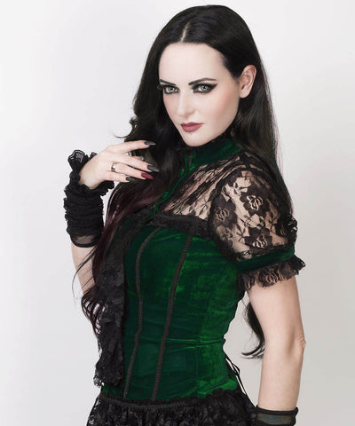 Leofric Gothic Top in Green Velvet