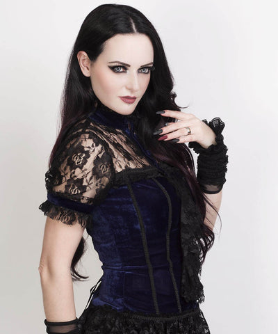 Candace Gothic Top in Blue Velvet