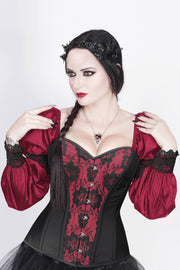 Overbust Custom Made Burlesque Burgundy Corset with Attached Sleeve