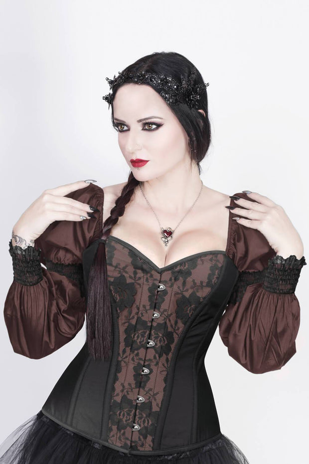 Overbust Custom Made Burlesque Brown Corset with Attached Sleeve