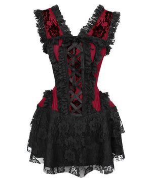 Agar Burgundy Halter Burlesque Corset Dress