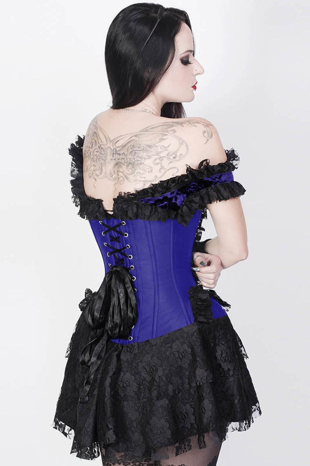 Reino Custom Made Blue Halter Burlesque Corset Dress