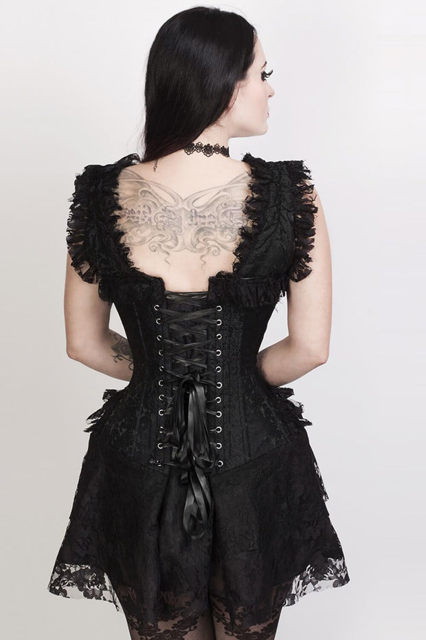 Renita Custom Made Halter Burlesque Corset Dress in Black Brocade