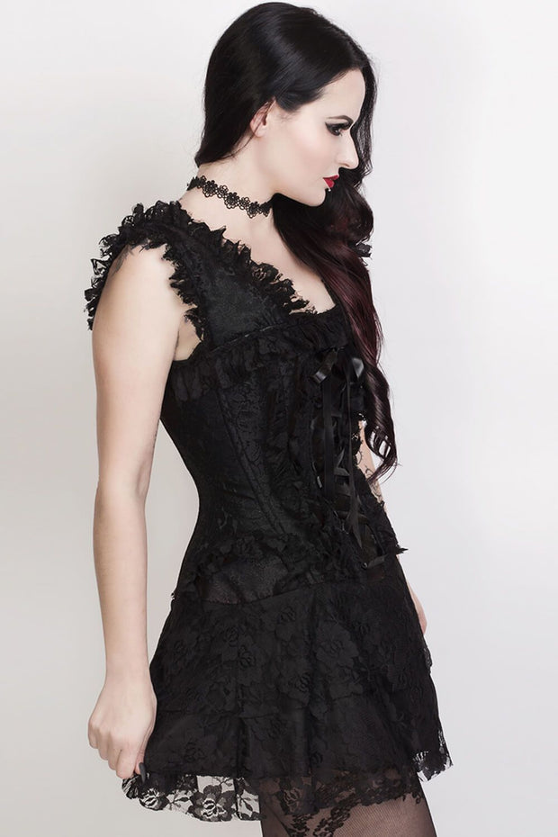 Renita Halter Burlesque Corset Dress in Black Brocade