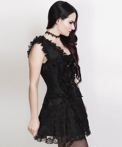 Renita Halter Burlesque Custom Made Corset Dress in Black Brocade