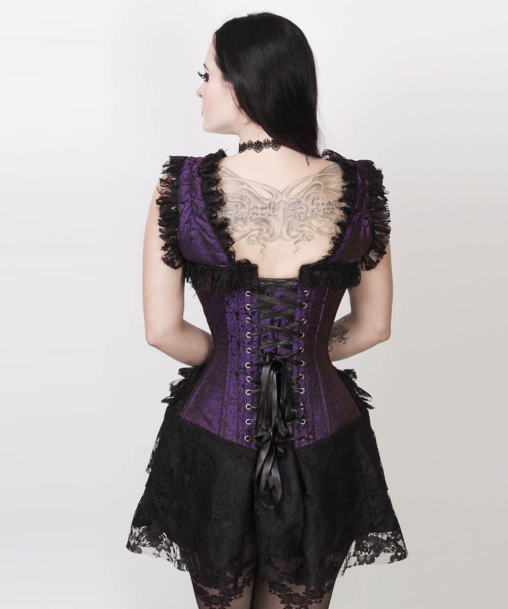 Aitor Halter Burlesque Corset Dress in Purple Brocade