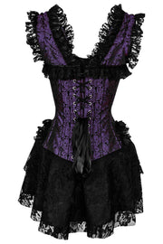 Aitor Custom Made Halter Burlesque Corset Dress in Purple Brocade