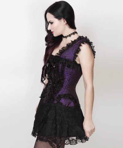Aitor Halter Burlesque Custom Made Corset Dress in Purple Brocade