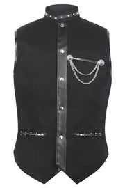 Ellayne Custom Made Gothic Men's Waist Coat in Black Cotton