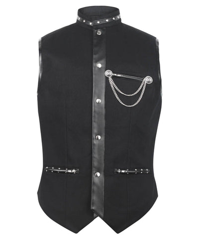 Ellayne Gothic Men's Waist Coat in Black Cotton