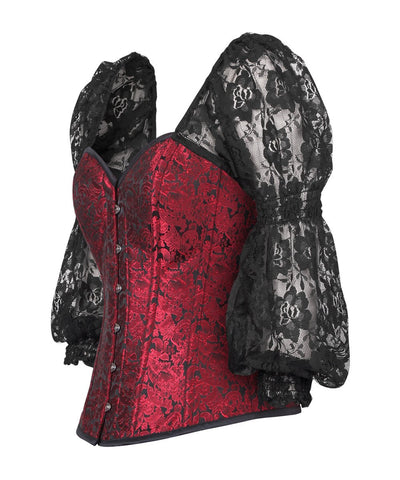 Cathrine Gothic Overbust Corset with Attached Sleeve