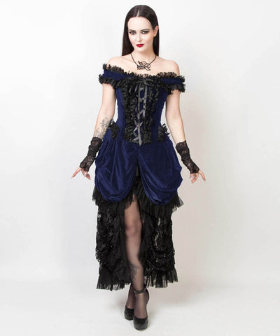 CaitIyn Velvet Burlesque Blue Dress