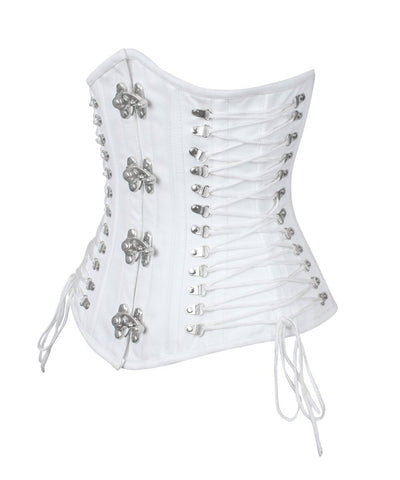 Briannah White Gothic Cotton Corset with Criss Cross Sides