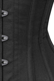 Long Line Black Waist Shaper Corset in 100% Cotton
