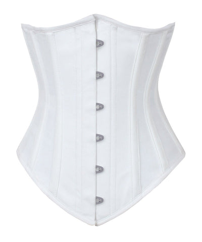 Long Line White Waist Shaper Corset in 100% Cotton