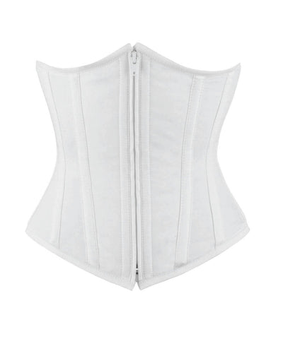 Vintage Goth Underbust White Waist Shaper Corset in 100 percent Cotton