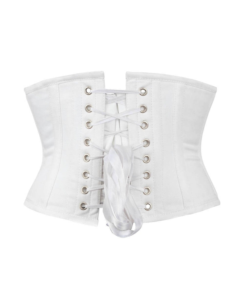 Underbust White Waist Cincher Corset in 100% Cotton
