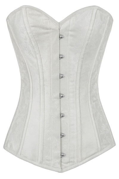 Calandra Custom Made White Brocade Long Overbust Corset