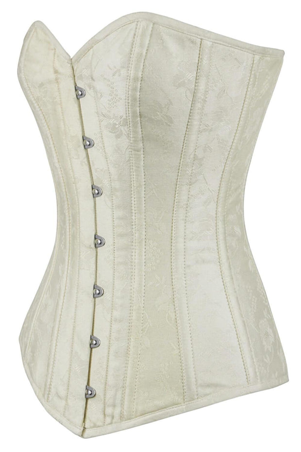 Adina Custom Made Ivory Brocade Long Overbust Corset