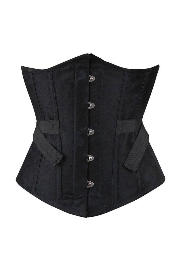 Ellisha Underbust Black Brocade Corset with Fan Lacing