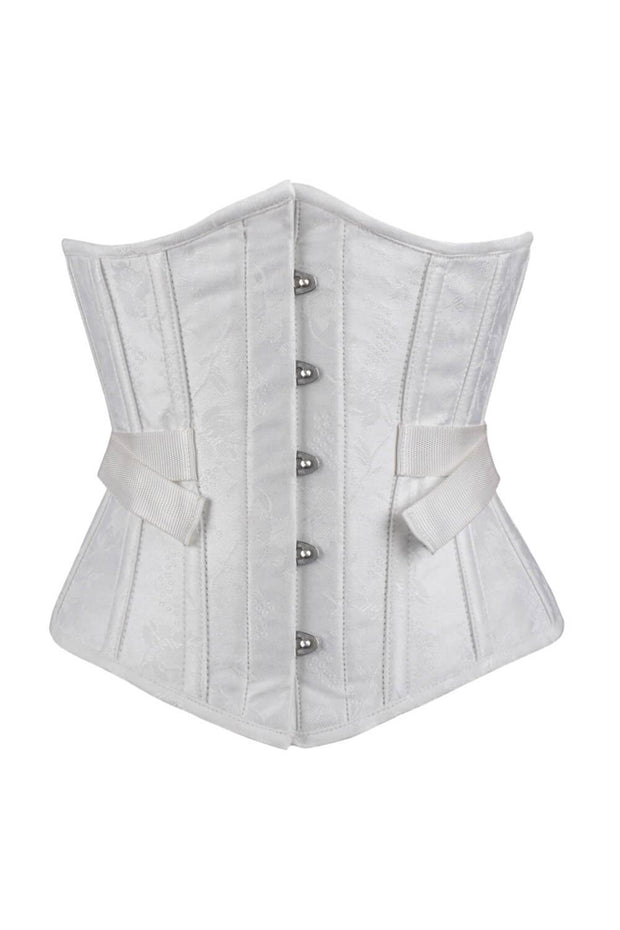 Gavina Underbust White Brocade Corset with Fan Lacing