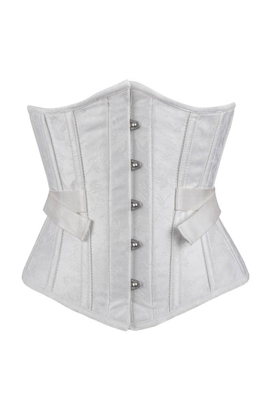Gavina Underbust Custom Made White Brocade Corset with Fan Lacing
