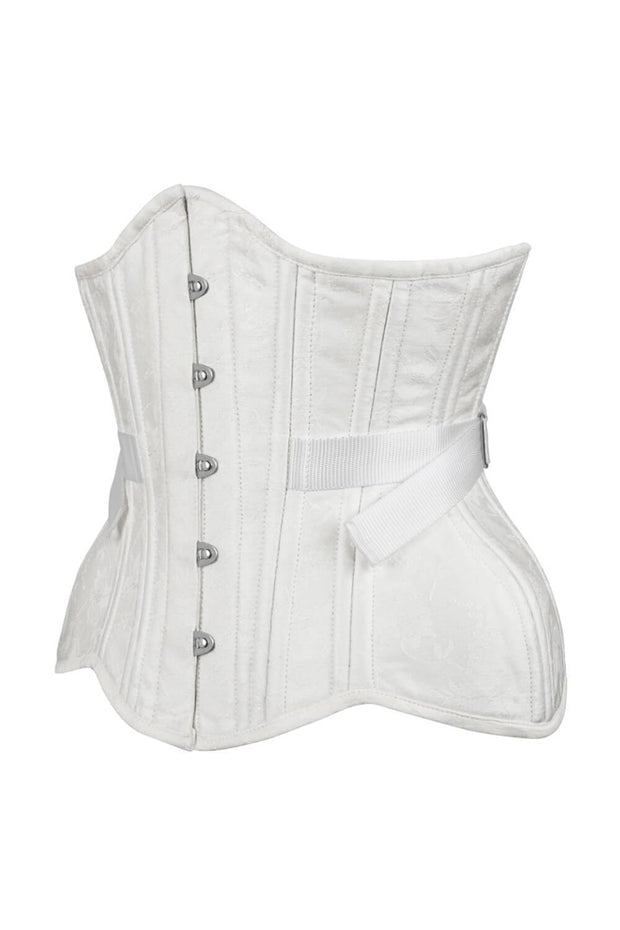 Adira Curvy Waist Training White Brocade Corset with Fan Lacing