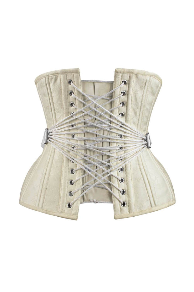 Dalila Curvy Waist Training Ivory Brocade Corset with Fan Lacing