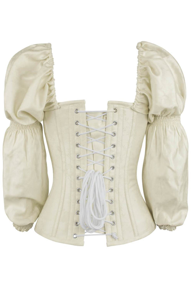 Jena Overbust Ivory Brocade Corset with Sleeves