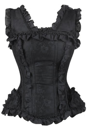 Calcia Burlesque Brocade Black Overbust Corset