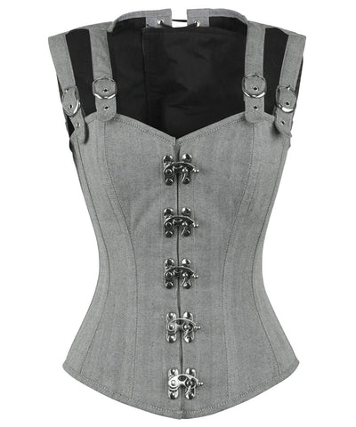 Vintage Goth Eneas Cotton Herringbone Overbust Corset with Shoulder Straps - VG LONDON LTD Corsets and Bustiers Shop