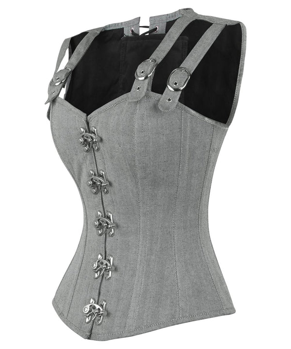 Eneas Cotton Herringbone Overbust Corset with Shoulder Straps